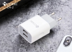 COKIKE CH-2 Home Charger Euro Plug Smart Dual USB Power Adapter With Charging Cable For Smartphone and Tablets