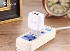 COKIKE CH-3 Smart Dual USB Wall Charger Wholesaler Euro Plug Power Adapter With Charging Cable For Handset and Tablets