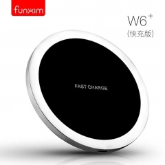 Funxim-W6+ QC/QI Wireless Smart Fast Charger Pad Travel Quick USB Power Adapter for Smartphone