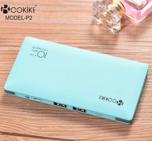 COKIKE-P2 10000mAh Power Bank Mobile Power Supplier Portable Battery Charger for Smartphone and Tablets