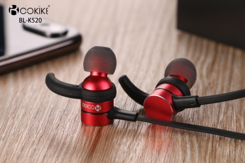 BL-K520 Bluetooth earphone Wireless Headphones Factory Metal Magnetic absorption Short Wired Bluetooth Wireless Small Sports In-Ear Stereo