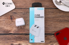 CM-1 Wall Chargers Manufacturers Smart Dual USB Charger US Plug Power Adapter With Charging Cable For Cellphone and Tablets