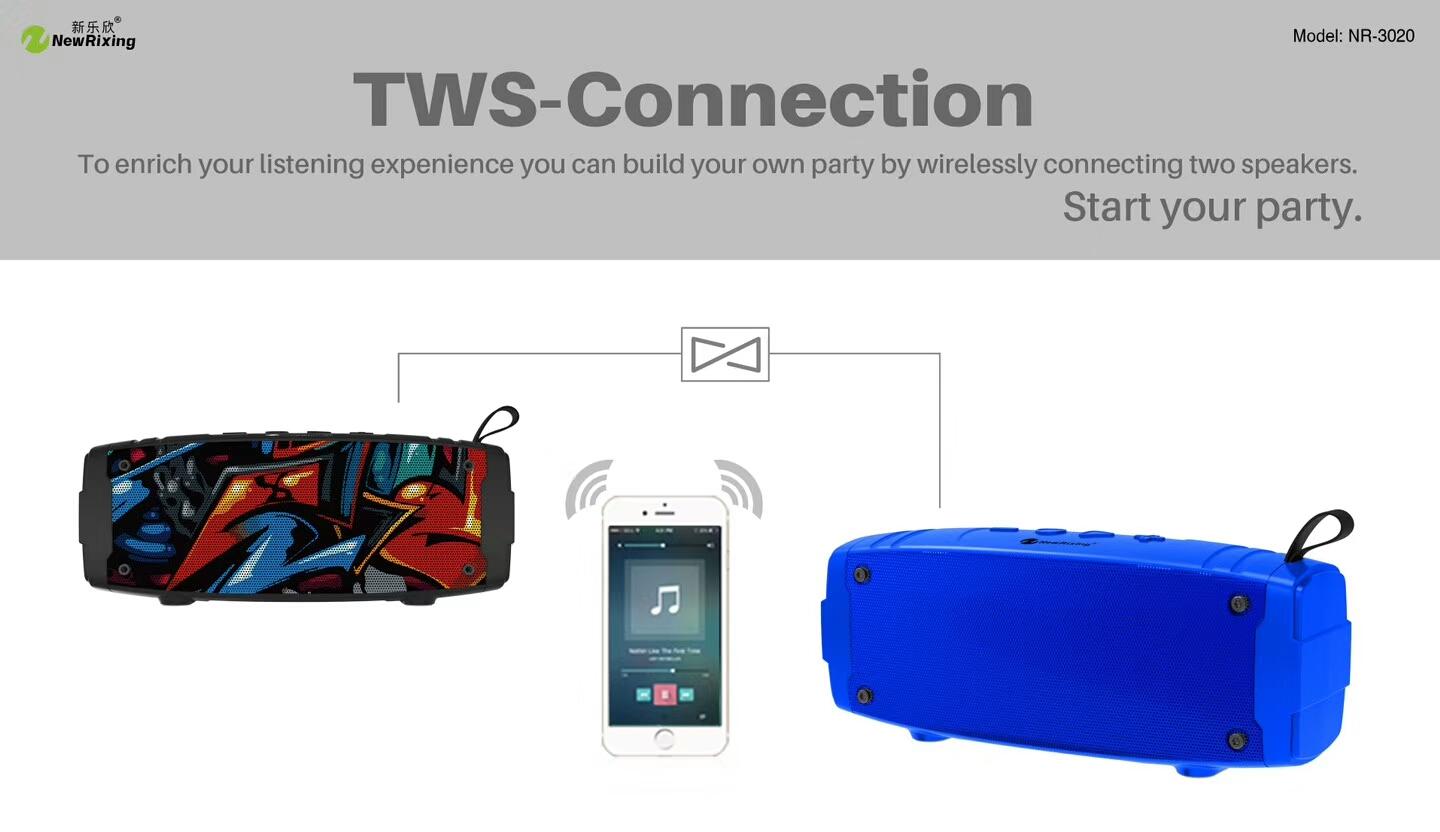 NewRixing NR-3020 Graffiti Style Outdoor Wireless Speaker