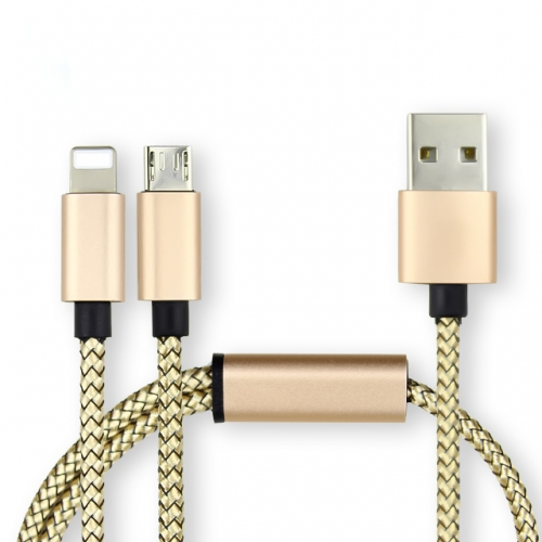 Model-020 2 In 1 Quick Charging Cable Wholesaler Mobile Data Cable Supplier Aluminum alloy For Smartphone and Tablets