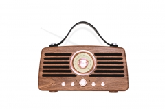 NR-4013 Portable Active Speaker Portable Small Speaker Factory Retro FM radio Crystal frequency dial Portable design with leather handle