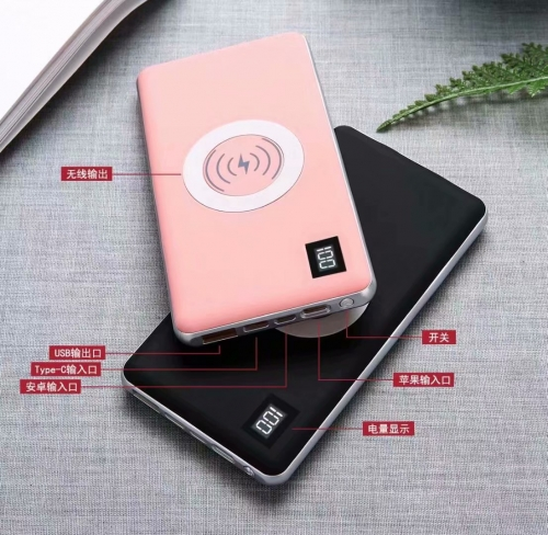 P038D 10000mAh wireless charging external battery mobile wireless charging pad Wholesaler LED digital display