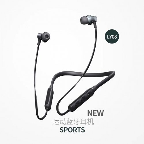 LY08 wireless in ear earpiece Wireless Bluetooth Headphone Neckband Design Magnetic absorption bass Sport Mini high-capacity battery