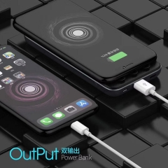Qi100 10000mAh wireless fast charging power bank portable qi backup charger Wholesaler Support Micro USB/TYPE-C/Lightning input