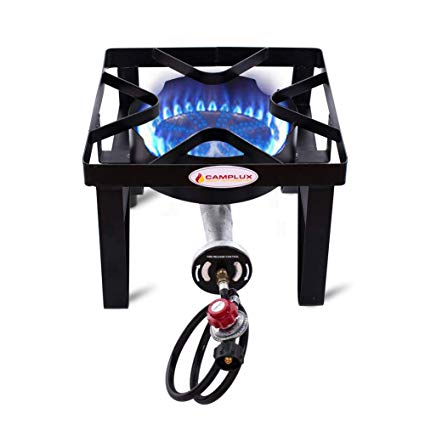 Camplux JK-SS21 Outdoor Camp Stove 200,000 BTU Propane Gas Single Burner Cast Iron Gas Cooker with Stand, Adjustable 0-20PSI CSA Listed Regulator