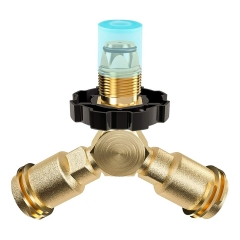 Gasland Propane Adapter Y-Splitter Gas Fitting Tee with POL Connector and 2 x 1''-20 Male Throwaway Cylinder Thread