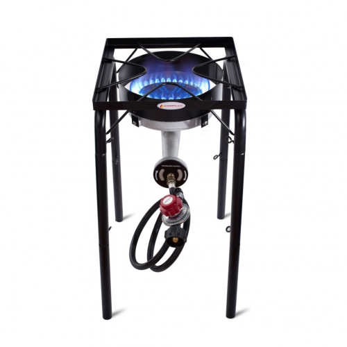Camplux JK-SL21 Single Burner Outdoor Camp Stove 200,000 BTU, Heavy-Duty Propane Gas Cooker with Adjustable Height and CSA Listed Regulator