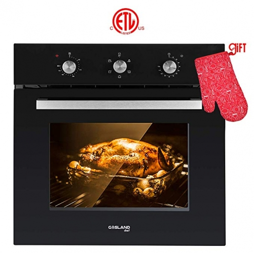 "Gasland Chef ES606MB 24"" Built-in Black Glass Electric Wall Oven With Cooling Down Fan"