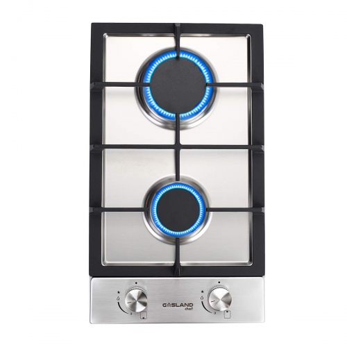 "Gasland Chef GH30SF Gas Cooktop, 12"" Built-in Stove Top with 2 Sealed Burners LPG/NG, Stainless Steel"