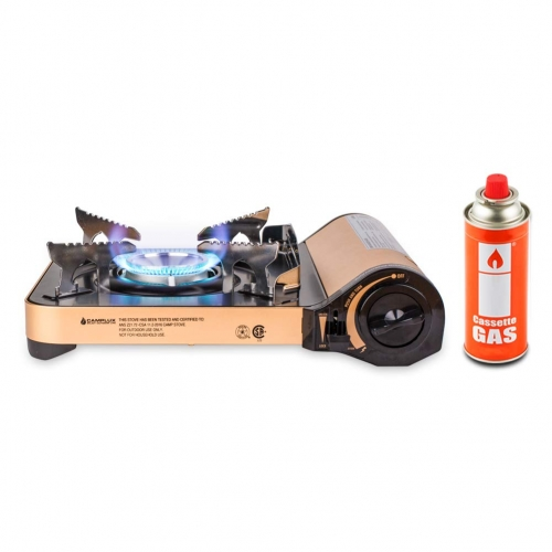 Camplux JK-7000 Single Burner Butane Stove, 11,500 BTU Portable Camping Gas Stove, Aluminum Alloy Outdoor Butane Gas Burner, Golden