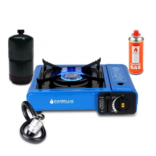 Camplux Dual Fuel Propane & Butane Portable Outdoor Camping Gas Stove Single Burner with Carry Case, Blue