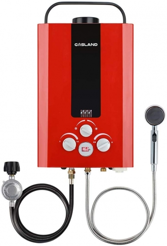 Gasland 1.58GPM 6L Outdoor Portable Propane Gas Tankless Water Heater, Red