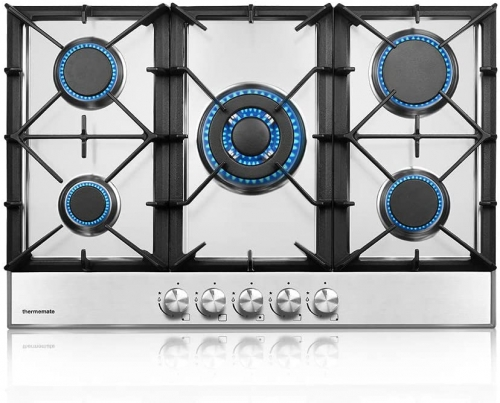 thermomate Gas Cooktop, 30 Inch Built In Gas Rangetop with 5 High Efficiency Burners, NG/LPG Convertible Stainless Steel Gas Stove Top with Thermocoup