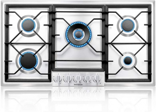 thermomate Gas Cooktop, Built In Gas Rangetop with High Efficiency Burners, NG/LPG Convertible Stainless Steel Gas Stove Top with Thermocouple Protect