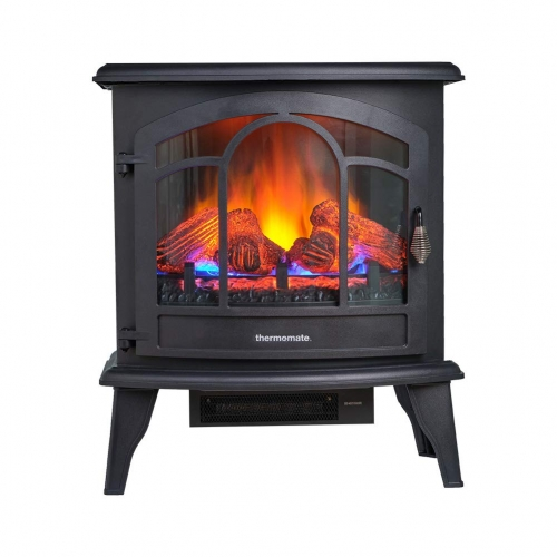 thermomate Electric Fireplace Stove, 23 Inches Portable Freestanding Fireplace with Remote Controller, Realistic Flame and Logs Vintage Design for Hom