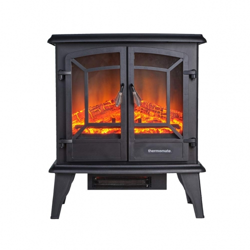 thermomate Electric Fireplace Stove, 23 Inches Portable Freestanding Fireplace, Realistic Flame and Logs Vintage Design for Home and Office, CSA Appro
