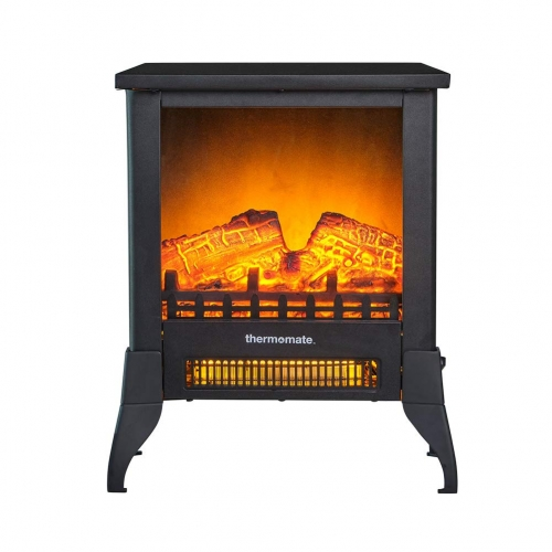thermomate Electric Fireplace Stove, Portable Freestanding Fireplace with Thermostat, Realistic Flame and Logs Vintage Design for Home and Office