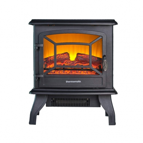 thermomate Electric Fireplace Stove, 20 Inches Portable Freestanding Fireplace with Thermostat, Realistic Flame and Logs Vintage Design for Home and O