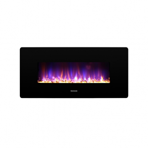 thermomate 36 Inch Electric Fireplace with Thermostat, 1400W Electric Heater with Remote Control and Timer, CSA Certified, Black
