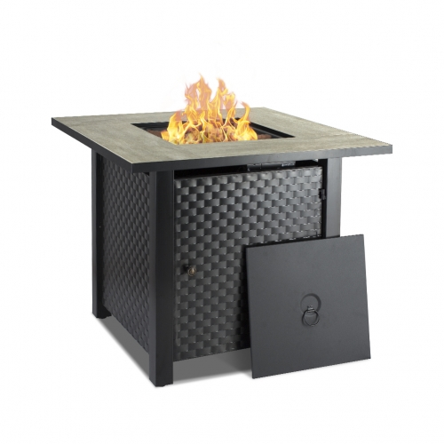 Camplux 30 in Propane Fire Pit Table, Outdoor Gas Fire Table with Cover & Lava Rock, Ceramic Tabletop, 50,000BTU Automatic Ignition, ETL Certification