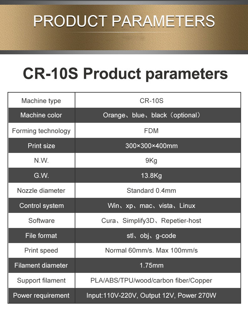 parameter of CR-10S