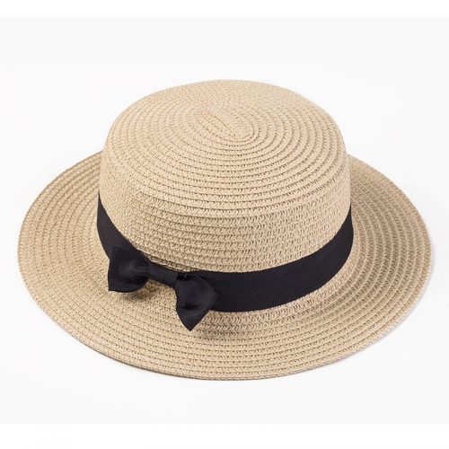 WOMEN'S BOATER SUN CAPS RIBBON ROUND FLAT TOP STRAW BEACH HAT