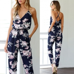 BACKLESS SLEEVELESS V-NECK FLORAL SUMMER BOHEMIAN SUITS
