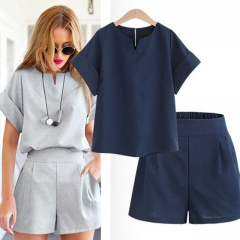 Cotton Linen V-neck short Office Suit Set Women's Costumes