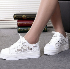 Woman Sneakers Canvas Breathable Platform Flat Shoes
