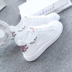 Hollow Lace-Up Embroidered Women White Sneakers