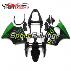 Fairing Kit Fit For Kawasaki ZX6R 2000-2002- Green Black Flame