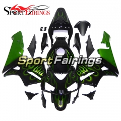 Fairing Kit Fit For Honda CBR600RR F5 2003 - 2004 - Black Green Flame
