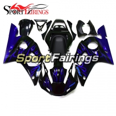 Fairing Kit Fit For Yamaha YZF R6 1998 - 2002 - Black Blue Flames