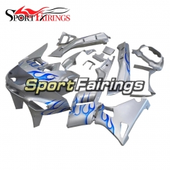 Fairing Kit Fit For Kawasaki ZZR400  1993 - 2007-Sliver Blue Flame