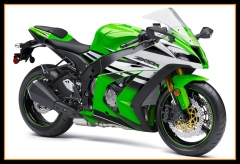 Full Injection Fairings For Kawasaki ZX10R 2011 - 2015 Green White