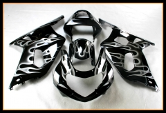 Full ABS Fairings For Suzuki GSXR600-750 2000 - 2003 Black With White Flames Hulls