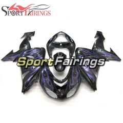 Fairing Kit Fit For Kawasaki ZX10R 2006 - 2007 -Gloss Black Purple Flame