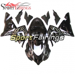 Fairing Kit Fit For Kawasaki ZX10R 2004 - 2005 -Black Sliver Flame