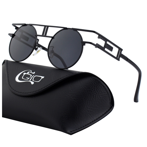 CGID Retro Geometric frame Mirrored Polarized Steampunk Sunglasses