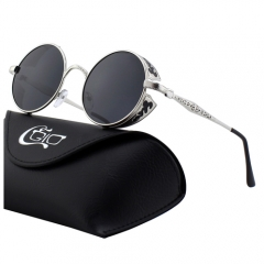 CGID Retro Carved Mirrored Polarized Steampunk Sunglasses