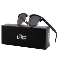 CGID  Classic Unisex Mirrored Polarized Semi-Rimless Sunglasses