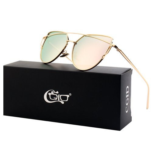 CGID Retro Mirrored Polarized Cateye Sunglasses