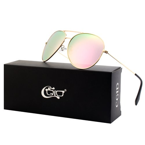 CGID Classic Metal Mirrored Polarized Pilot Driving Sunglasses