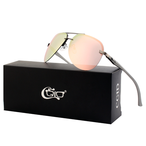 CGID Rimless Metal Mirrored Polarized  Pilot Sunglasses