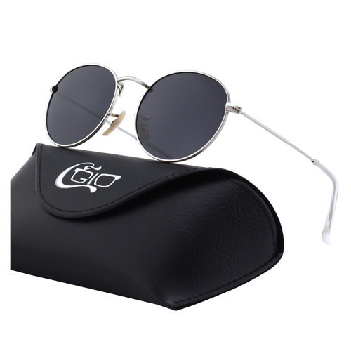 CGID Men's Sunglasses Multiple Colored Round Lennon Metal Polarized Sunglasses