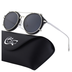 CGID Clip on Women's Metal Polarized Circle Double Lens Sunglasses